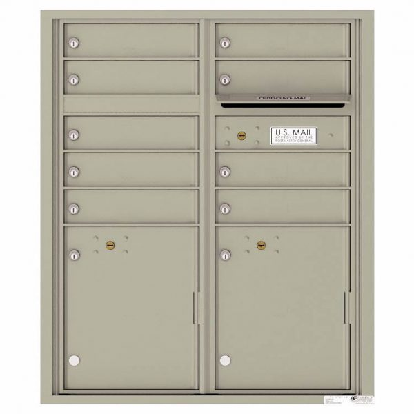 Florence Versatile Front Loading 4C Commercial Mailbox with 9 tenant Doors and 2 Parcel Lockers 4CADD-9 Postal Grey