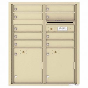 Florence Versatile Front Loading 4C Commercial Mailbox with 9 tenant Doors and 2 Parcel Lockers 4CADD-9 Sandstone