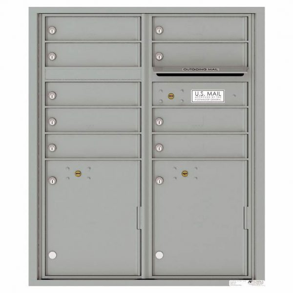 Florence Versatile Front Loading 4C Commercial Mailbox with 9 tenant Doors and 2 Parcel Lockers 4CADD-9 Silver Speck