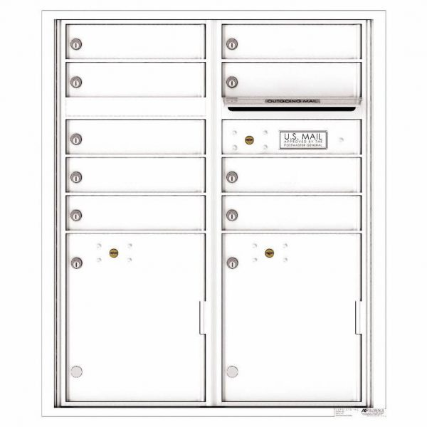 Florence Versatile Front Loading 4C Commercial Mailbox with 9 tenant Doors and 2 Parcel Lockers 4CADD-9 White