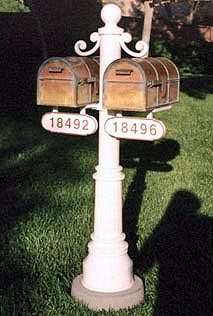 2 Westchester Mailboxes with Double Newport Post
