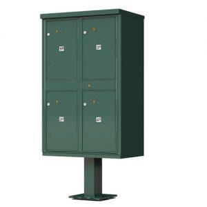 4 – Door Florence Outdoor Parcel Locker with Pedestal Forest Green