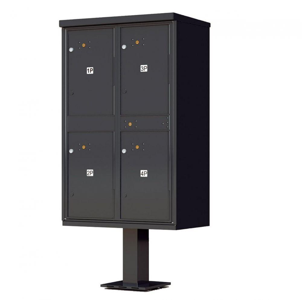 4 Door Parcel Locker CBU 1590-T2SD Black