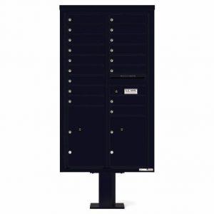 Florence Versatile Front Loading Pedestal Mailbox 4C15D-17-P Black