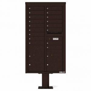 Florence Versatile Front Loading Pedestal Mailbox 4C15D-17-P Dark Bronze