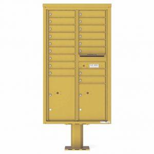Florence Versatile Front Loading Pedestal Mailbox 4C15D-17-P Gold Speck