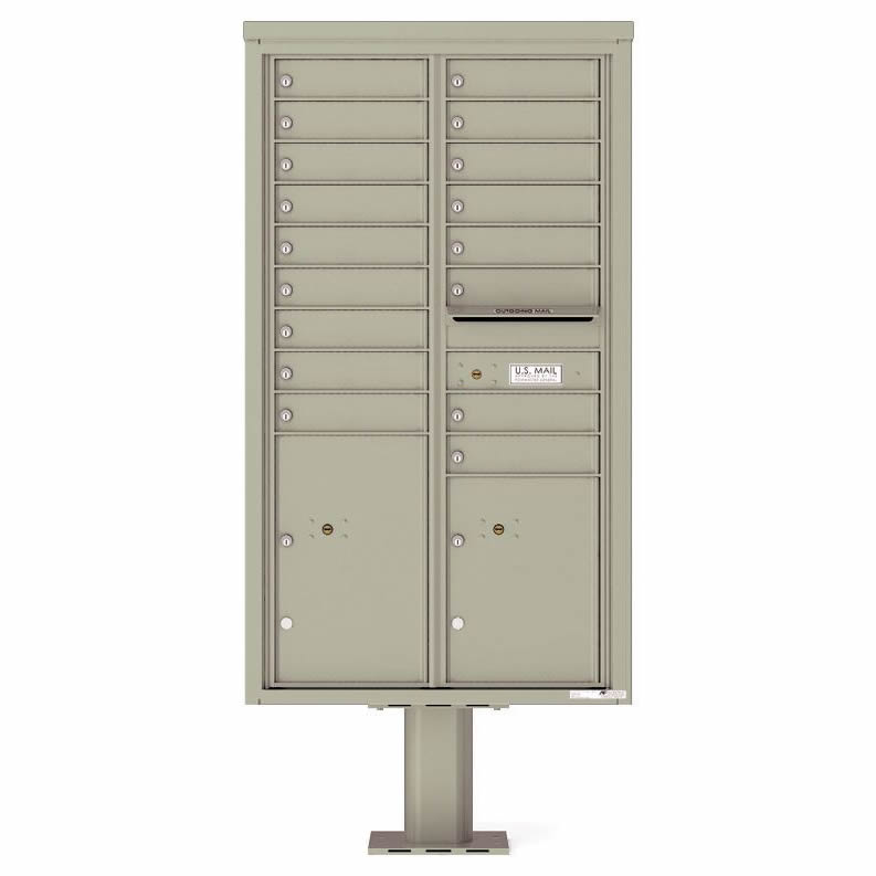 Florence Versatile Front Loading Pedestal Mailbox 4C15D-17-P Postal Grey