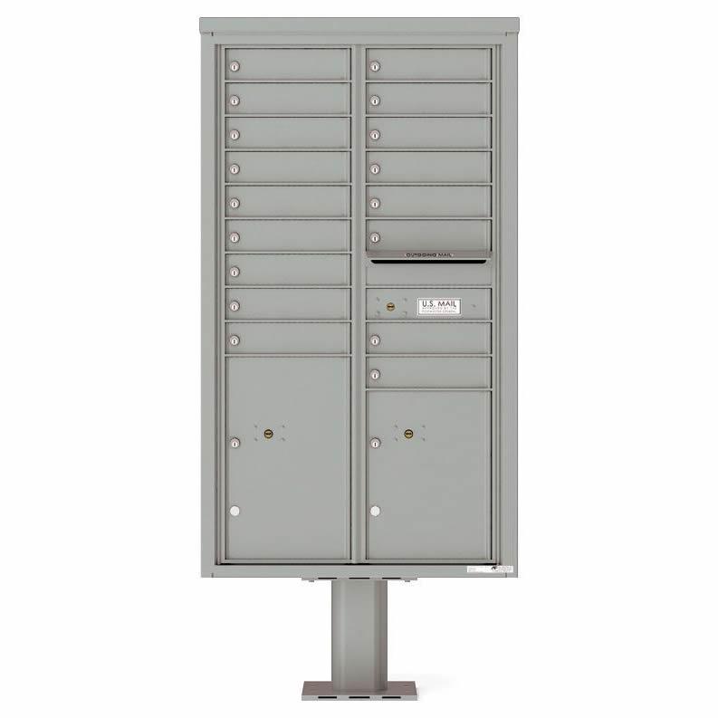 Florence Versatile Front Loading Pedestal Mailbox 4C15D-17-P Silver Speck