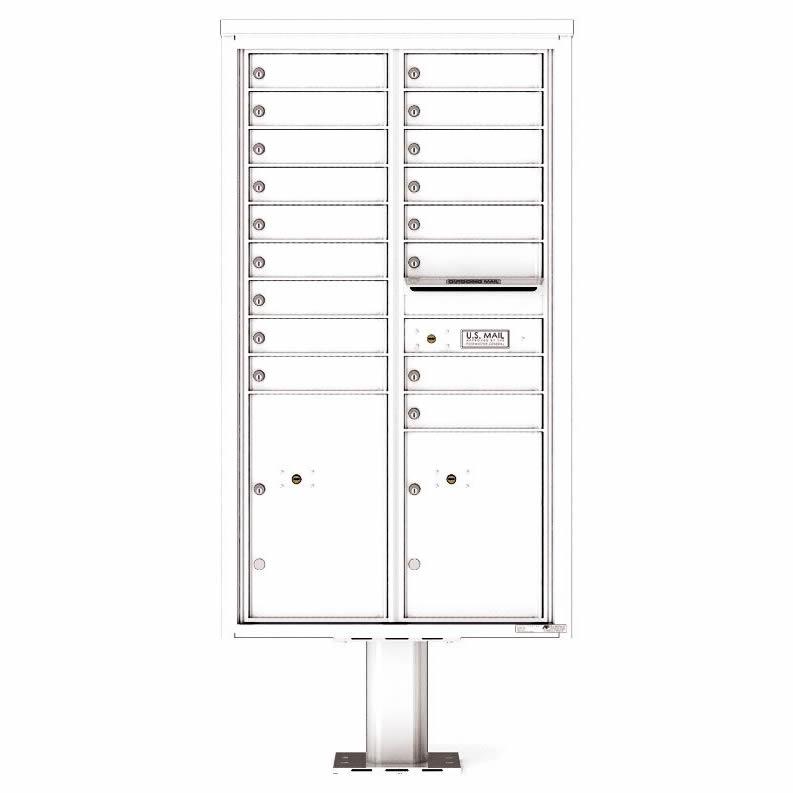Florence Versatile Front Loading Pedestal Mailbox 4C15D-17-P White