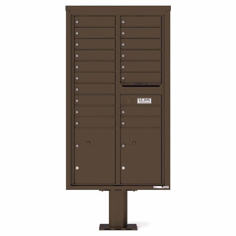 Florence Versatile Front Loading Pedestal Mailbox 4C15D-18-P Antique Bronze