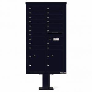 Florence Versatile Front Loading Pedestal Mailbox 4C15D-18-P Black
