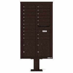 Florence Versatile Front Loading Pedestal Mailbox 4C15D-18-P Dark Bronze