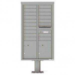 Florence Versatile Front Loading Pedestal Mailbox 4C15D-18-P Silver Speck