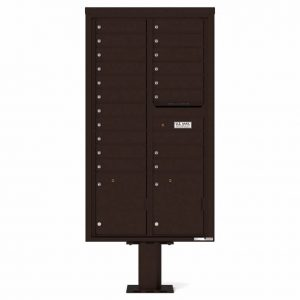 Florence Versatile Front Loading Pedestal Mailbox 4C16D-19-P Dark Bronze