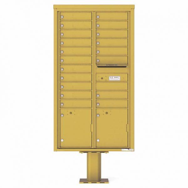 Florence Versatile Front Loading Pedestal Mailbox 4C16D-19-P Gold Speck
