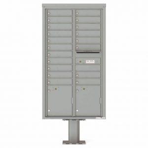 Florence Versatile Front Loading Pedestal Mailbox 4C16D-19-P Silver Speck