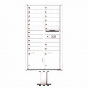 Florence Versatile Front Loading Pedestal Mailbox 4C16D-19-P White