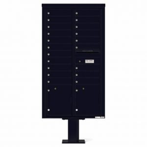Florence Versatile Front Loading Pedestal Mailbox with 20 Tenant Doors and 2 Parcel Lockers 4C16D-20-P Black