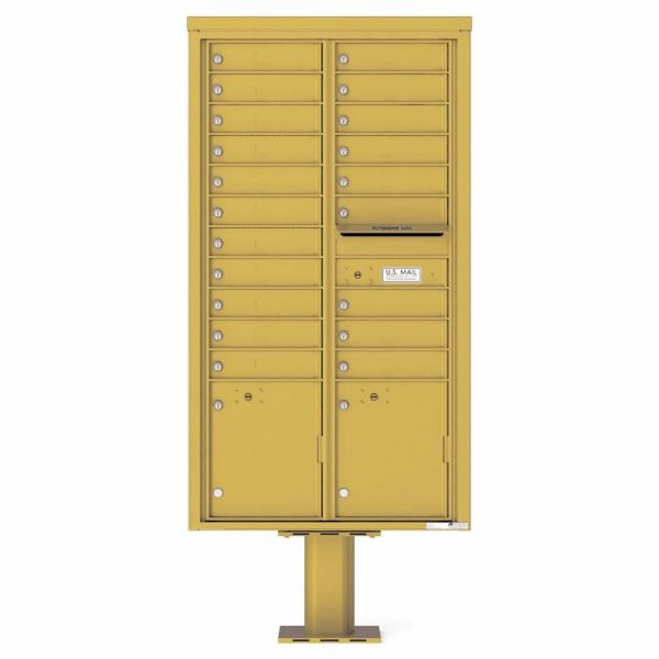 Florence Versatile Front Loading Pedestal Mailbox with 20 Tenant Doors and 2 Parcel Lockers 4C16D-20-P Gold Speck