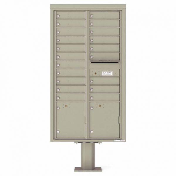 Florence Versatile Front Loading Pedestal Mailbox with 20 Tenant Doors and 2 Parcel Lockers 4C16D-20-P Postal GreyFlorence Versatile Front Loading Pedestal Mailbox with 20 Tenant Doors and 2 Parcel Lockers 4C16D-20-P Postal Grey