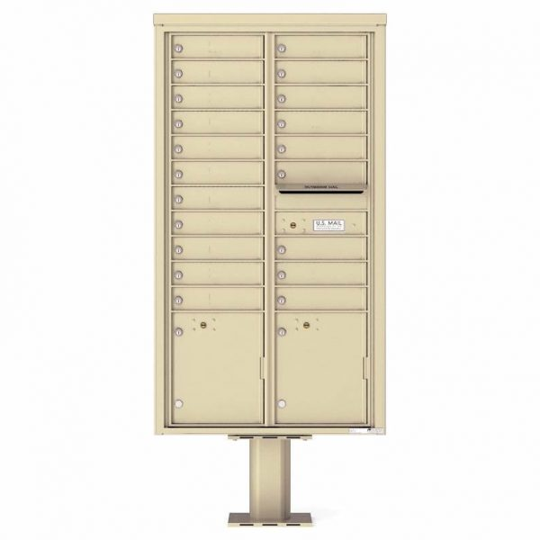 Florence Versatile Front Loading Pedestal Mailbox with 20 Tenant Doors and 2 Parcel Lockers 4C16D-20-P Sandstone