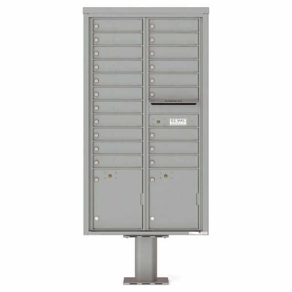 Florence Versatile Front Loading Pedestal Mailbox with 20 Tenant Doors and 2 Parcel Lockers 4C16D-20-P Silver Speck