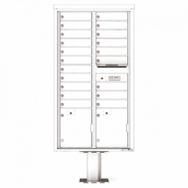 Florence Versatile Front Loading Pedestal Mailbox with 20 Tenant Doors and 2 Parcel Lockers 4C16D-20-P White