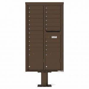 Florence Versatile Front Loading Pedestal Mailbox with 20 Tenant Doors and 2 Parcel Lockers Antique 4C16D-20-P Bronze