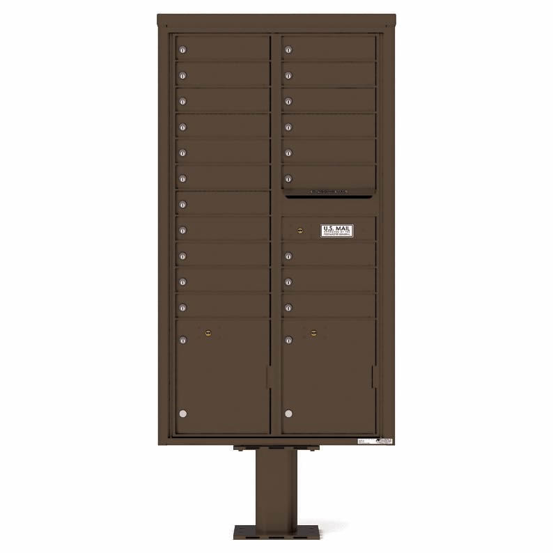 Florence Versatile Front Loading Pedestal Mailbox with 20 Tenant Doors and 2 Parcel Lockers Antique 4C16D-20-P Bronze