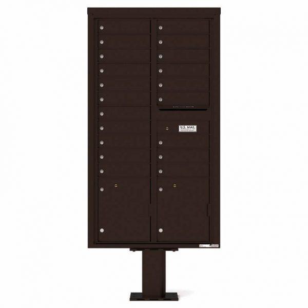 Florence Versatile Front Loading Pedestal Mailbox with 20 Tenant Doors and 2 Parcel Lockers Dark 4C16D-20-P Bornze