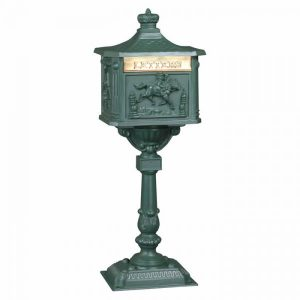 Textured Green Amco Locking Victorian Mailbox with Post