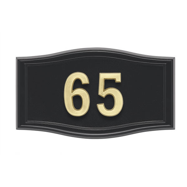 All Black Address Plaque H2-SRBL