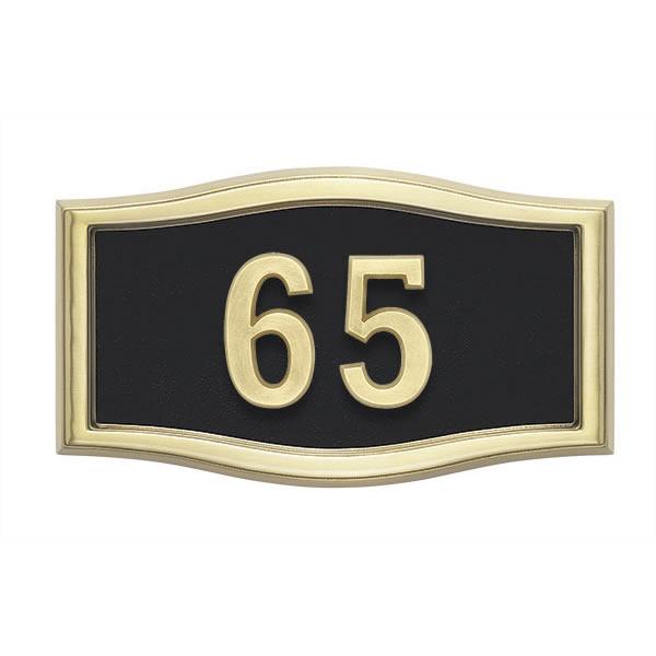 Black with Brass Address Plaque H1-SRBL