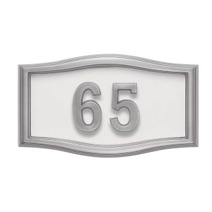 White with Satin Nickel Address Plaque S1-SRWH