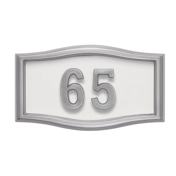 White with Satin Nickel Address Plaque S1-SRWH