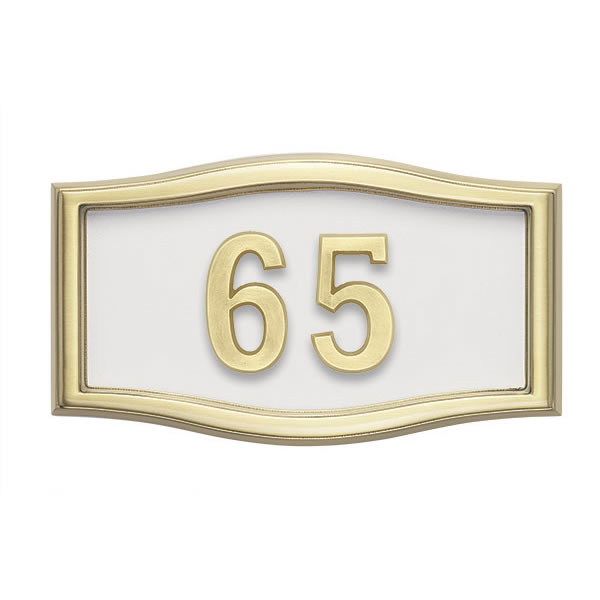 White wtih Brass Address Plaque H1-SRWH