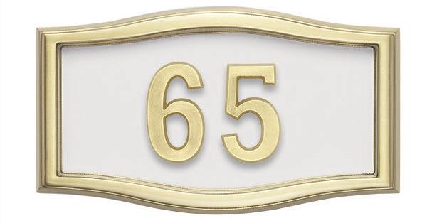 White wtih Brass Address Plaque