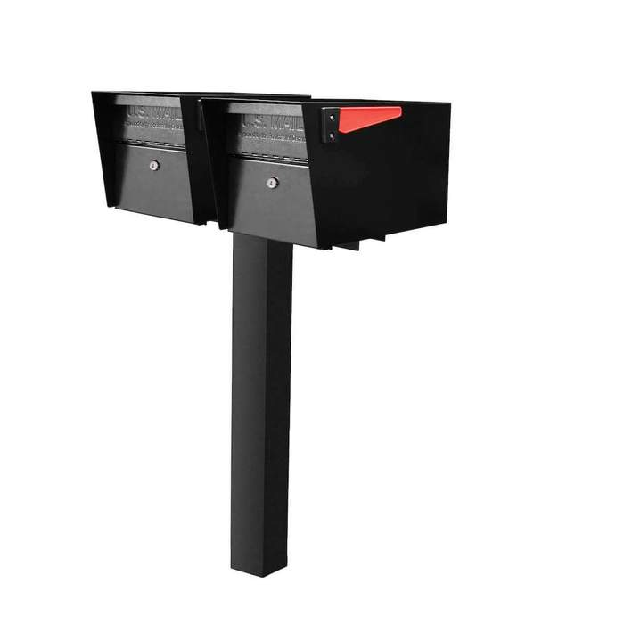 2 Mail Boss High Security Mailboxes with Post Black Flag Down