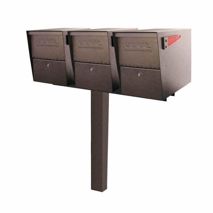 3 Mail Boss High Security Mailboxes with Post Bronze