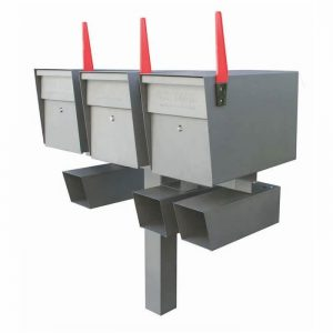 3 Mail Boss High Security Mailboxes with Post Granite with Newspaper Holders