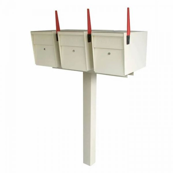 3 Mail Boss High Security Mailboxes with Post White