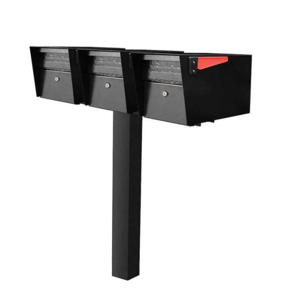 3 Mail Manager Locking Mailboxes with Post Black