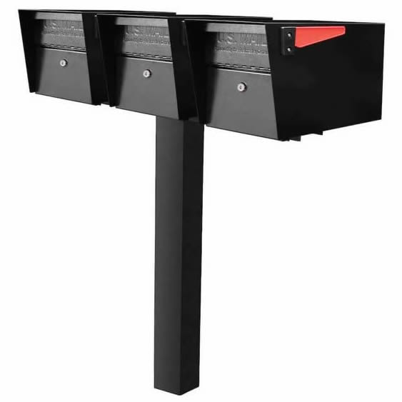 3 Mail Manager Mailboxes with Post Black