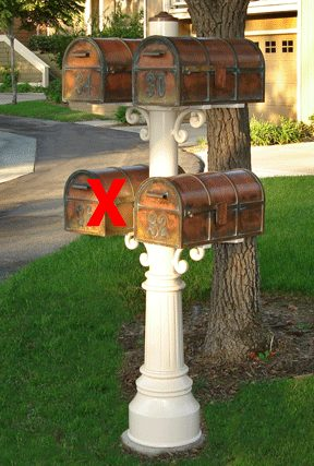 3 Westchester Mailboxes with Tripple Capistrano Post