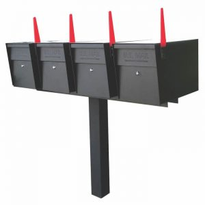 4 Mail Boss High Security Mailboxes with Post Black Flag Up