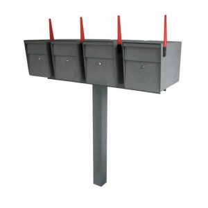 4 Mail Boss High Security Mailboxes with Post Granite Flag Up