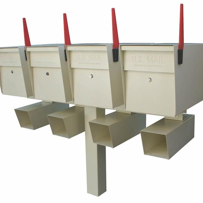 4 Mail Boss High Security Mailboxes with Post White with Newspaper Holders