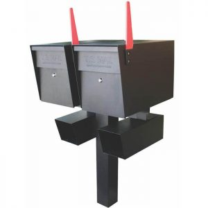 Double Mailboss High Security Mailbox with Post Black