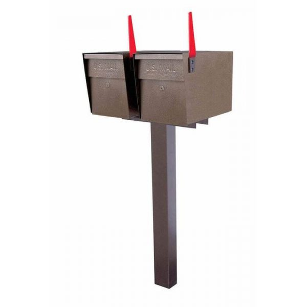 Double Mailboss High Security Mailbox with Post Bronze