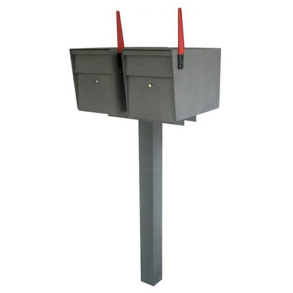 Double Mailboss High Security Mailbox with Post Granite